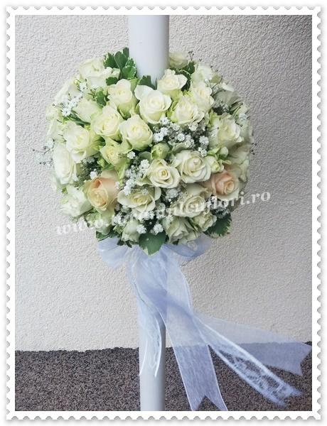 Lumanari nunta-miniroze albe si trandafiri.3022